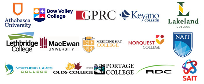 This partnership includes Athabasca University, Bow Valley College, Grande Prairie Regional College, Keyano College, Lakeland College, Lethbridge College, MacEwan University, Medicine Hat College, Nor